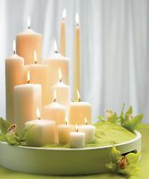 This is a good configuration for the smaller candles in a cluster....could use stands under them draped in black.