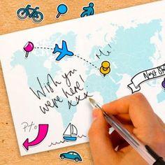 Postal personalizable cada viaje una postal. Las puedes encontrar aquí:  http://www.regatron.es/postal-personalizable.html