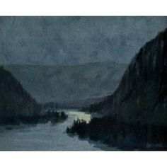 Canadian Pacific Rockies 1900 Moonlight on the Bow River Canvas Art - CW Simpson (18 x 24)