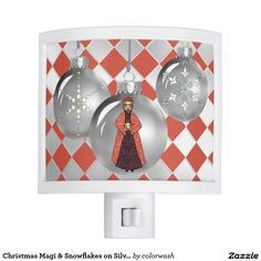 Christmas Magi & Snowflakes on Silver Decorations Night Light - Three silver tree decorations contain symbols of the holiday season, one of the Magi taking center stage with wintry snowflakes on either side of him. Find your way on Christmas Eve with this beautiful silvery, night light. #Christmas #nightlight