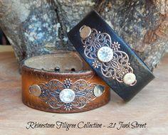 Rhinestone Filigree Leather Cuff Bracelet, Become a Retailer! 21 Junk Street