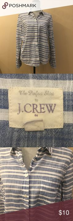 Women's J.Crew Classic Button-down Blue and White The Perfect Shirt by J. Crew.  100% Cotton.  Like-new condition.  Worn once from smoke-free and pet-free home. J. Crew Tops Button Down Shirts