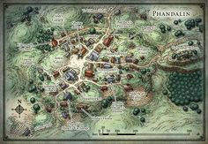 "An RPG town map created for the Dungeons & Dragons adventure ""Lost Mine of Phandelver""."