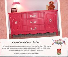 Pearls in the Barn painted this dresser with General Finishes Coral Crush Milk Paint.  So cute! We'd love to see your projects made with General Finishes products! Tag us with #GeneralFinishes or share with us through our facebook page. #generalfinishes #milkpaint
