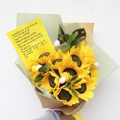 Biggest bouquet of sunflower that i've ever done Featuring our newest korean wrapping : soft green . Paper Flowers Craft, Crepe Paper Flowers, Felt Flowers, Flower Crafts, Diy Flowers, Felt Crafts, Diy And Crafts, Paper Crafts, Flower Bouquet Diy