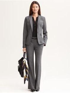 A classical grey pant suit is a very executive look. Be sure to