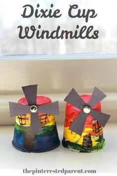 Rainbow Dixie Cup Windmills. Cute & easy kids craft