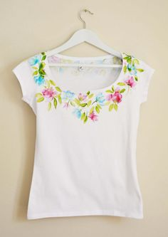 Pink and Turquoise  Hand Painted MYgarden Flowers T-shirt size L