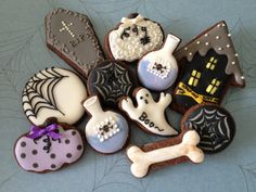 Decorated Halloween cookies.