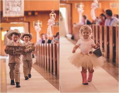 Country wedding ring bearer and tutu flower girl with cowboy boots