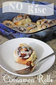 No Rise (no yeast!) quick & easy cinnamon rolls! Most and delicious. A great short cut recipe!