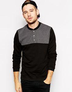ASOS Sweatshirt With Baseball Neck