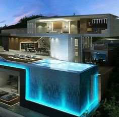 142 stunning modern dream house exterior design ideas-page 4 Dream Home Design, Modern House Design, Cool House Designs, Pool Designs, Luxury Homes Dream Houses, Luxury Life, Luxury Pools, Modern Mansion, Modern Houses