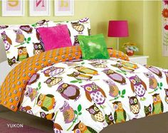Girls Full Bedding Set Yukon Reversible #Owls Orange White #Owl