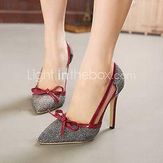 Tacones de aguja de las mujeres de tacón alto con punta de tacón de aguja en las bombas de Borgoña Zapatos de vestir fKPKAG