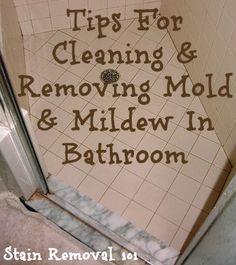 The video below demonstrates a great technique for cleaning and removing mildew in a bathroom.  It provides really simple instructions, with tools commonly