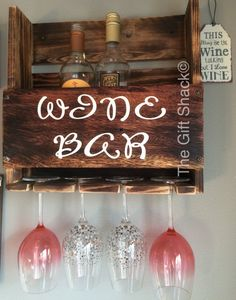 Reclaimed Wood Wine Rack & Glass Holder от TheGiftShackTowyn