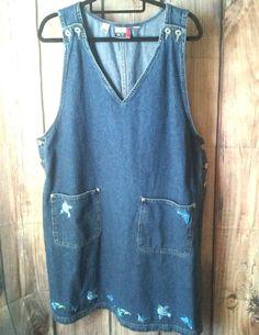 J.L. N.Y.  1X Women Dress Medium Wash Blue Denim S/less Jumper Pockets Spring XL