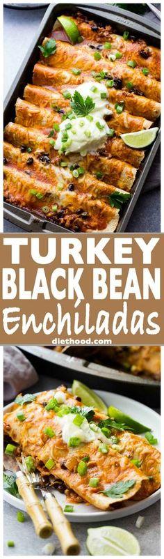 Ground Turkey Black Bean Enchiladas - Loaded with ground turkey and black beans, these saucy, cheesy enchiladas are super easy to make and always everyone's favorite!