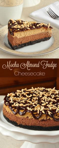 Mocha Almond Fudge Cheesecake - this double layer cheesecake is a luscious salute to one of the most popular ice cream flavours ever. So incredibly delicious! Rock Recipes, Free Recipes, Simple Recipes, Layer Cheesecake, Cheesecake Recipes, Almond Cheesecake Recipe, Fudge, Köstliche Desserts, Dessert Recipes