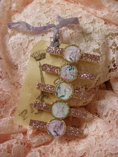 Rose Glittered Marie Antoinette Clothes Pins on a Paris Inspired Hang Tag from ShatteredPrincess on Etsy