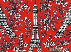 Retro Eiffel Tower Fabric Red