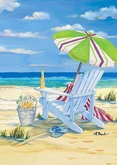 """FM164 BEACH TIME 5 O'CLOCK DRINKS SUMMER PARADISE 12""""x18"""" GARDEN FLAG"""