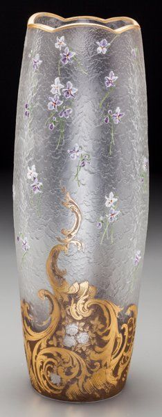 Art Glass:Other , Tall Mont Joye Acid-Etched and Gilt Glass Vase with EnameledViolets. Circa 1900. Ht. 17-1/4 in.. ...