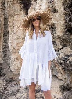 tilda dress – Morton Mac Couture Fashion, Boho Fashion, Fashion Dresses, Bikini, Cute Dresses, Casual Dresses, White Boho Dress, Beach Wear, Outfits With Hats