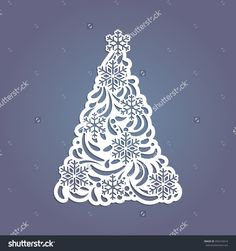 Christmas Tree Cut Out Of Paper. Template For Christmas Cards, Invitations For Christmas Party. Image Suitable For Laser Cutting, Plotter Cutting Or Printing. Стоковая векторная иллюстрация 492416614 : Shutterstock