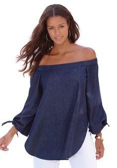 """This off-the-shoulder plus size tunic by Denim 24/7® drapes beautifully over your figure for a confident look.  relaxed silhouette off the shoulder style elastic neckline tie detail at sleeves deep shirttail rounded hem hem drops to 32"""" at upper thigh 100% cotton, machine wash, imported  Plus size tunics, blouses, tops - off-the-shoulder tunic by denim 24/7®, sizes 12W-32W In Style Now! Sleek  and elegant with a dash of flair, this tunic features the off-the-shoulder style yo..."""