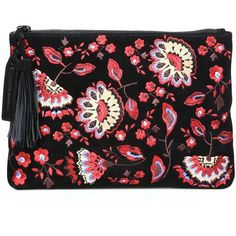 Loeffler Randall Floral-Embroidered Suede Tassel Pouch (957.730 COP) ❤ liked on Polyvore featuring bags, handbags, clutches, apparel & accessories, black floral, loeffler randall, floral handbags, loeffler randall purse, flower print purse and floral clutches