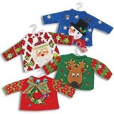 Mini ugly Christmas sweater ornaments!