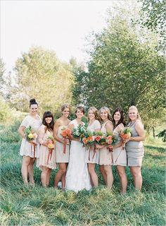 peach and gray bridesmaid dresses