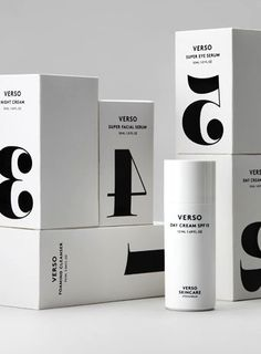 Black numbers - Verso Skincare, verso is Latin and means reverse | typography / package design: Today Creative |