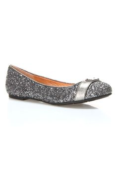 Glitter Logo Hardware Ballerina Flat In Coal by Marc Jacobs