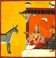 """Gaudi Ragini"". Present Location: Varanasi (Banares), Banaras Hindu University, Bharat Kala Bhavan. Location: Mankot or Basohli, Chamba District, Himachal Pradesh, India. Date: ca 1715 CE.:"