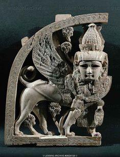 Winged Sphinx Ivory Inlay. 8th-7th centuries BCE. Nimrud, Iraq