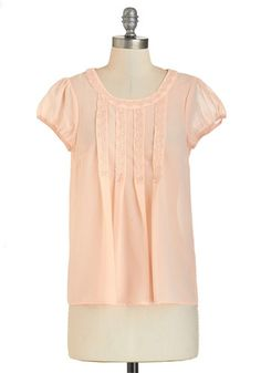 Quaint Life Amazing? Top - Mid-length, Sheer, Woven, Coral, Solid, Lace, Work, Casual, Pastel, Cap Sleeves, Spring, Summer, Fall