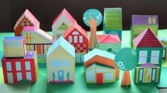Build Your Own Neighborhood Papercraft For Kids - by Mari Richards   --        A complete city, easy to assemble and super colorful, created by designer Mari Richards, from The Neighborhood website. Perfect for Kids!