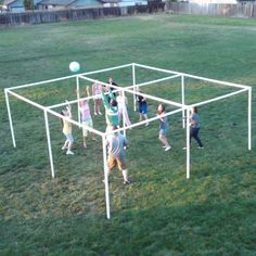 Square Volley Square, made with PVC pipe. Great mix of four square and volleyball.Volley Square, made with PVC pipe. Great mix of four square and volleyball. Youth Group Games, Youth Activities, Family Games, Games For Kids, Youth Groups, Team Games, Indoor Activities, Summer Activities, Outside Games