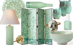 Markham Capiz Placemat by Kim Seybert I Recycled Spanish-Glass Vases by West Elm I Mint Green Owls by Claylicious I Mint Candy Apple by Essie I Aquamarine Cushion ring by Garnet Girl I Inside out bowl at Anthropologie I Chinoiserie 4-Panel Screen by Jardins Du Jour I Mercury Glass Melon Knob at Anthropologie I Lauren Table Lamp by Alexa Hampton