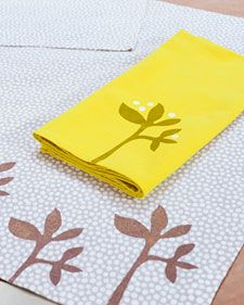 """Dress up everyday linens into a tea towel with Scandinavian stencil patterns from textile designer Lotta Jansdotter on """"The Martha Stewart Show."""""""