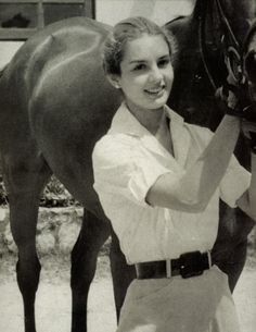 Carolina Herrera | Living the rustic life with her horse Balaclava, Caracas, 1955.