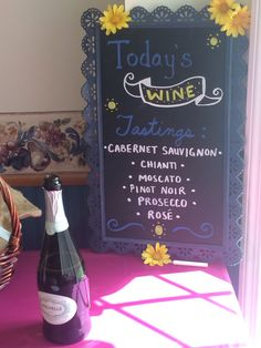 Wine themed bridal shower wine tasting chalk board