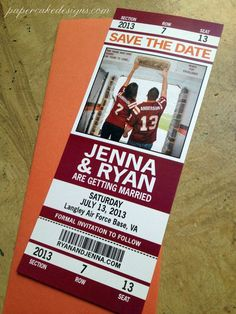 Football Wedding Save the Date Ticket...can we get married over again so we can do this? sports save the dates, baseball save the dates #wedding #sports