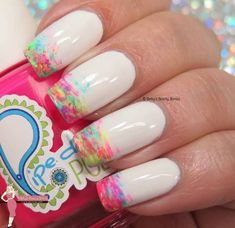 Neon Brushstroke Nail Art