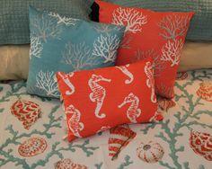 "Coastal Coral 17"" Pillow"