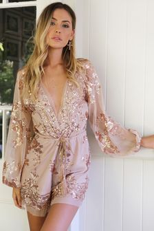 $54.99 Gold Sequined Lace V-Neck With Belt Jumpsuits