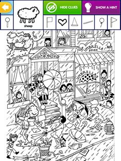 Hidden Picture Games, Hidden Picture Puzzles, Adult Coloring, Coloring Books, Coloring Pages, English Activities, Activities For Kids, File Folder Games, Hidden Pictures